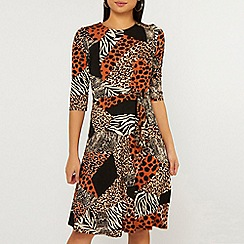 Dorothy Perkins - Petite Orange Animal Print Jersey Dress