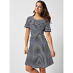 Dorothy Perkins - Petite Navy Stripe Print Fit And Flare Dress