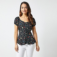 Dorothy Perkins - Petite Black Floral Ditsy Blouse