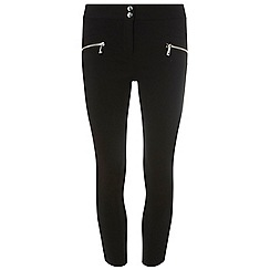Dorothy Perkins - Petite black zip detail skinny fit trousers