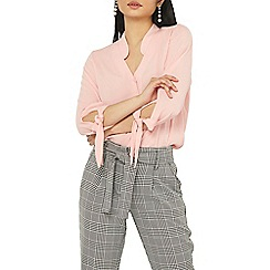 Dorothy Perkins - Petite pink tie sleeve shirt