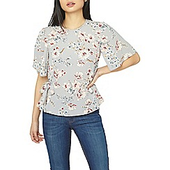 Dorothy Perkins - Petite silver and grey blossom print top