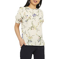 Dorothy Perkins - Petite ivory floral sheered cuff top