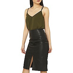 Dorothy Perkins - Petite khaki cross back camisole top