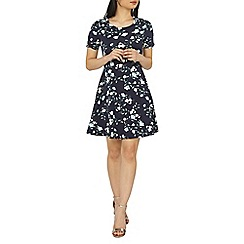 Dorothy Perkins - Petite navy floral fit and flare dress