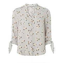 Dorothy Perkins - Petite grey ditsy floral print shirt