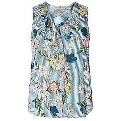 Dorothy Perkins - Petite blue and ivory floral striped top