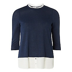 Dorothy Perkins - Petite navy and ivory pie crust 2 in 1 top