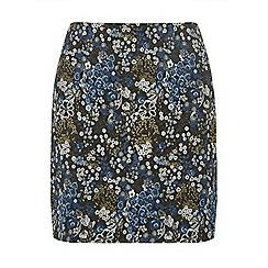 Dorothy Perkins - Petite navy floral jacquard mini skirt