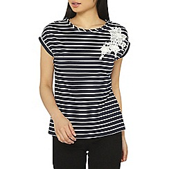 Dorothy Perkins - Petite navy stripe floral applique top