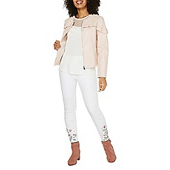 Dorothy Perkins - Blush frill faux leather jacket