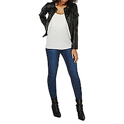 Dorothy Perkins - Black frill faux leather jacket