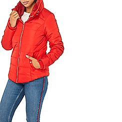 Dorothy Perkins - Red faux fur collar padded jacket