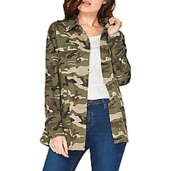 Dorothy Perkins - Camouflage stitch front shacket
