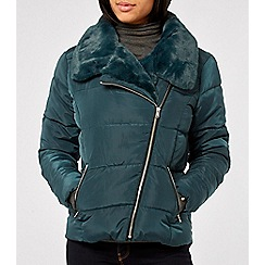 Dorothy Perkins - Teal asymmetric faux fur collar padded jacket