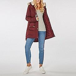Dorothy Perkins - Burgundy luxe faux fur parka coat