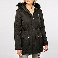 Dorothy Perkins - Black faux fur parka coat