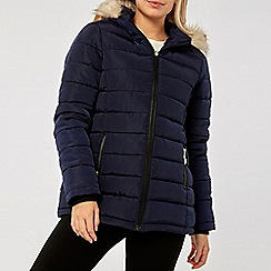 Dorothy Perkins - Navy faux fur hood padded jacket
