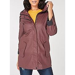 Dorothy Perkins - Burgundy polka-dot lined raincoat