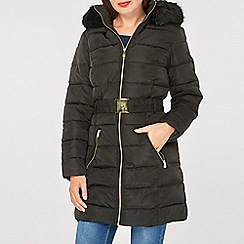 Dorothy Perkins - Black luxe belted padded coat
