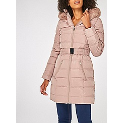 Dorothy Perkins - Blush luxe belted padded coat