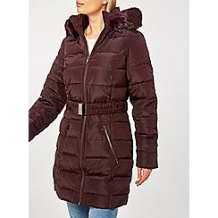 Dorothy Perkins - Burgundy belted padded coat