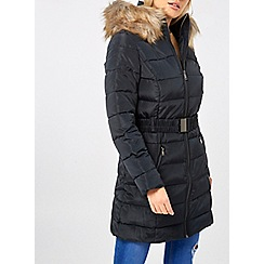 Dorothy Perkins - Navy luxe belted padded coat