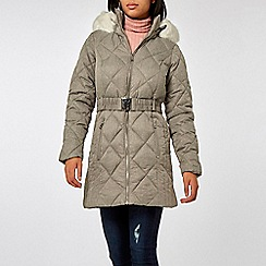 Dorothy Perkins - Grey diamond quilted padded coat