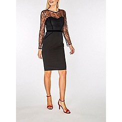 Dorothy Perkins - Black lace velvet pencil dress