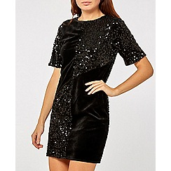 Dorothy Perkins - Black velvet sequin shift dress