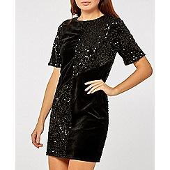 Dorothy Perkins - Black velvet sequin shift dress