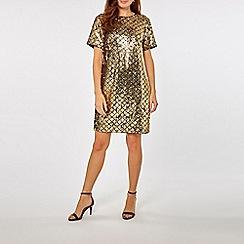 Dorothy Perkins - Gold diamond sequin shift dress