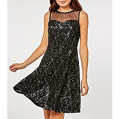 Dorothy Perkins - Black and silver shimmer lace skater dress