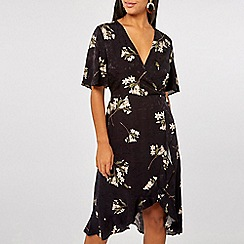 Dorothy Perkins - Satin jacquard midi wrap dress
