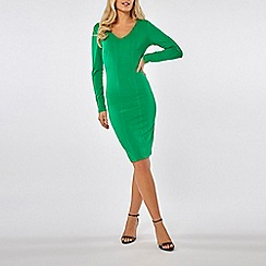 Dorothy Perkins - Green v neck textured bodycon dress