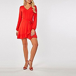 Dorothy Perkins - Red Ruffle Wrap Fit And Flare Dress