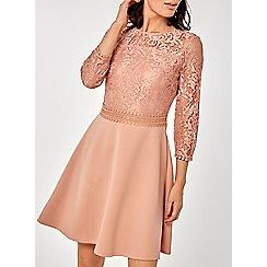 Dorothy Perkins - Blush 3/4 Sleeve Skater Dress