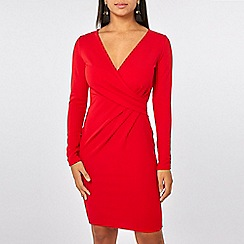 Dorothy Perkins - Red Wrap Top Bodycon Dress