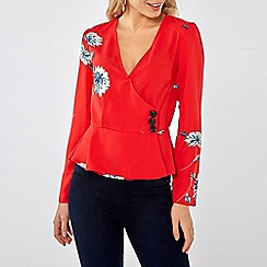 Dorothy Perkins - Red printed wrap horn button top
