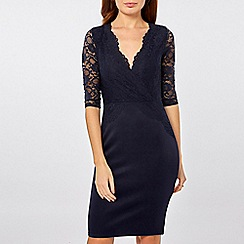 Dorothy Perkins - Navy lace top bodycon dress
