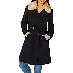 Dorothy Perkins - Navy faux fur collar belted coat