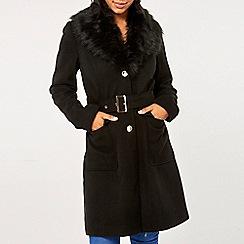 Dorothy Perkins - Black faux fur collar coat