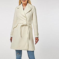 Dorothy Perkins - White belted wrap coat