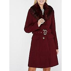 Dorothy Perkins - Berry faux fur collar coat