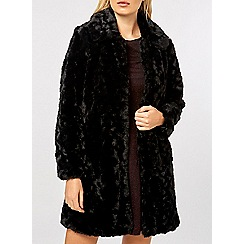 Dorothy Perkins - Black longline faux fur coat