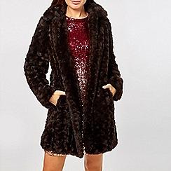 Dorothy Perkins - Chocolate brown longline faux fur coat