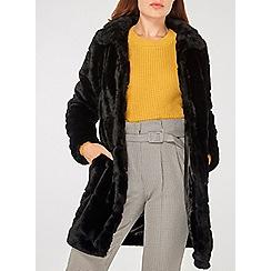 Dorothy Perkins - Black carved faux fur coat