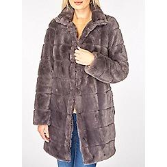 Dorothy Perkins - Slate grey carved faux fur coat