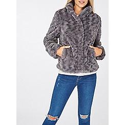 Dorothy Perkins - Grey swirl faux fur coat