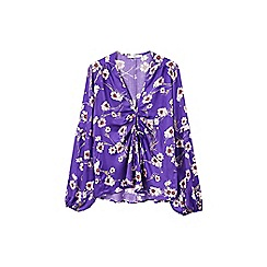 Mango - Purple floral print 'Adela' v-neck long sleeves top